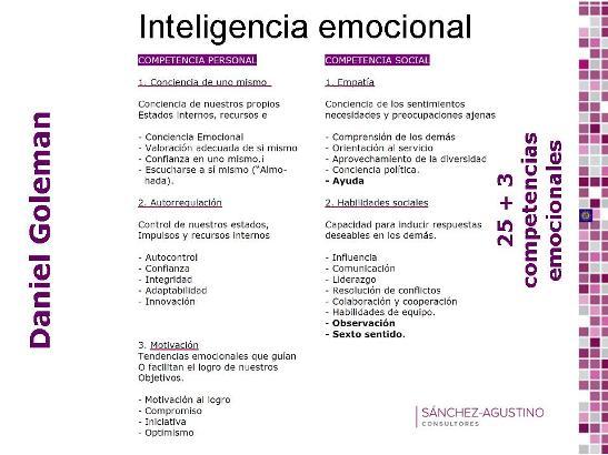 25 competencias Inteligencia Emocional Daniel Goleman
